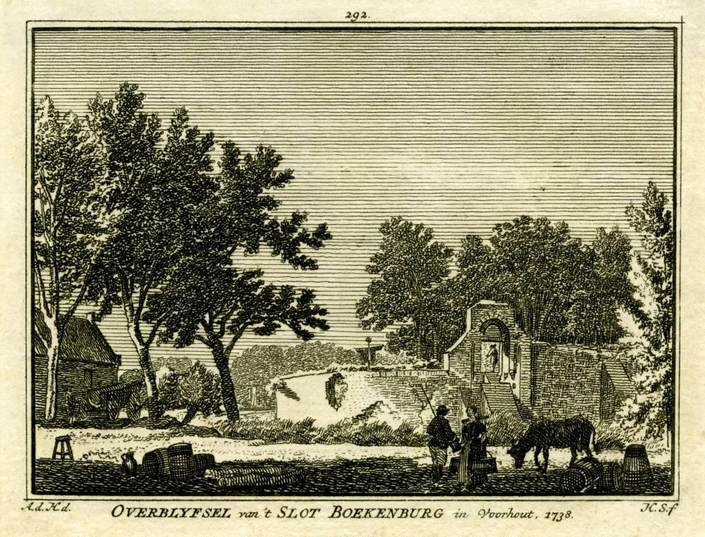 Boekenburg in Voorhout. Tekening Abraham de Haen, gravure Hendrik Spilman (Uit: Het Verheerlykt Nederland, Isaac Tirion, 1745/1774)